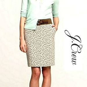J. Crew Leaf Print Pencil Skirt With Pockets